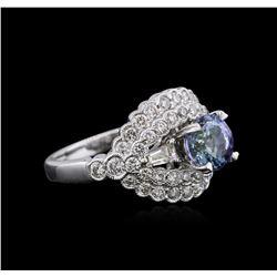 18KT White Gold 1.37 ctw Tanzanite and Diamond Ring