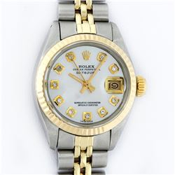Rolex Ladies 2 Tone Yellow Gold MOP Diamond 26MM Datejust Wristwatch