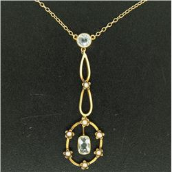 Antique Victorian 10k Yellow Gold Aquamarine Seed Pearl Dangle Pendant Necklace