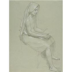 William Bouguereau - Study of Seated Veiled Female Figure 19th Cent.