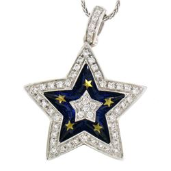 18kt Gold 1.10 ctw Diamond Star Pendant Necklace with Blue and Gold Enamel