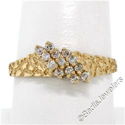 14kt Yellow Gold 0.30 ctw Round Brilliant Diamond Nugget Texture Band Ring