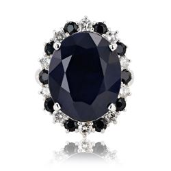 18.60 ctw Dark Blue Sapphire and 0.83 ctw Diamond 14K White Gold Ring