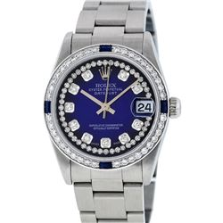 Rolex Womens Midsize 31mm Blue Vignette String Diamond & Sapphire Datejust Wrist