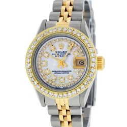 Rolex Ladies 2 Tone Yellow Gold Mother Of Pearl String Diamond Datejust Wristwat