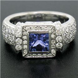 New Platinum 2.37 ctw Tanzanite and Diamond Halo Ring