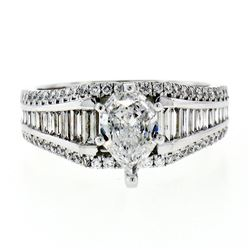 New 14kt White Gold 2.33 ctw GIA Certified Pear Cut Diamond Solitaire Engagement