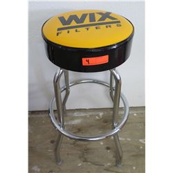 "Round Padded Shop Stool, Chrome 4-Leg Ring Base, 'WIX Filters' Logo, 13.5"" Dia."