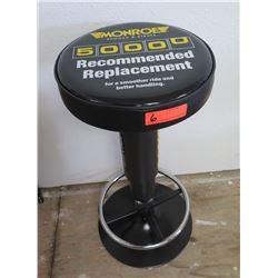 Benchmark Monroe Shocks Black Pedestal Single Ring Padded Round Shop Stool