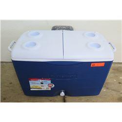 Rubbermaid Microban 60 Qt Blue Chest Cooler w/ Wheels