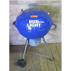 Blue Bud Light Round Covered BBQ Grill