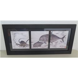 "Gyotaku by Naoki Reproduction Fish Print, Triptych, Framed 26""x12"""