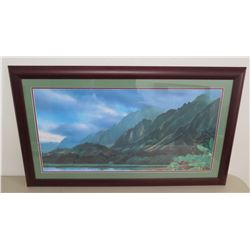 "Framed Mountain Landscape Print by Patrick Doell with Original Signature 36""x21"""