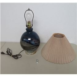 "Round Ceramic Blue Glaze Lamp w/ Shade 18"" High, Made By Tropical Clay"