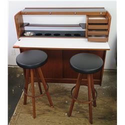 "Compact Teak Mini Bar w/ Fold-Out Features & Two Padded Bar Stools 49""W x 13.5""D x 44.5""H"
