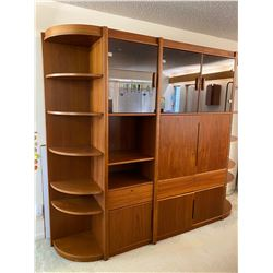 "Large Wall Cabinet Unit w/ Multiple Compartments & Shelving, 82"" Tall, 97"" Overall Width"