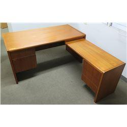 "Wood ""L"" Shaped Desk Ensemble w/ Built-In File Cabinets"