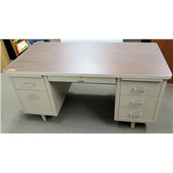 Metal Work Desk w/ Wood Laminate Top, 5 Drawers