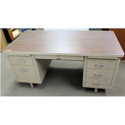 Metal Work Desk w/ Wood Laminate Top, 5 Drawers, 5ft x 30