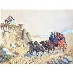 Untitled (Stagecoach) by Olaf Carl Seltzer (1877-1957)