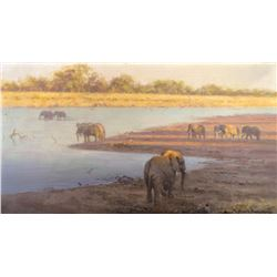 Elephants at the Watering Hole by David Shepherd (1931-2017)