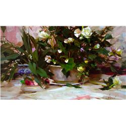 White Begonias by Richard Schmid (1934- )