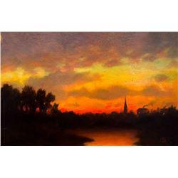 Old North Church at Sunset by Albert Bierstadt (1830-1902)