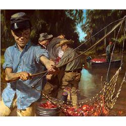 Louisiana Crayfish and Boys by Stanley Meltzoff (1917-2006)