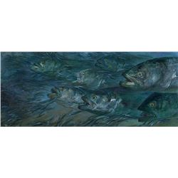 Bluefish 3 - Blues and Sand Eels in Surf by Stanley Meltzoff (1917-2006)