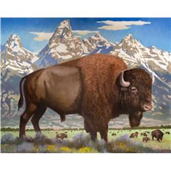 Bison Below the Tetons by Gary Ernest Smith (1942- )