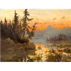 Sunset on Jackson Lake by John Fery (1859-1934)