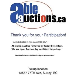 ALL ITEMS MUST BE REMOVED BY 6PM AUCTION DAY OF  FRIDAY 4:30PM BY APPOINTMENT
