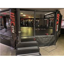 UFC OCTAGONAL FIGHT CAGE, APPROX. 30' ACROSS WITH PADDED WALLS AND STAIRS