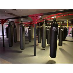 UFC BAG RACK, APPROX. 10' X 30' WITH APPROX 15 BAGS, LADDERS AND PADDING