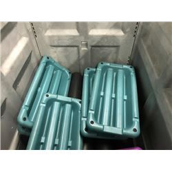 BIN OF ASSORTED EXERCISE PLATFORMS AND FOAM ROLLERS, BIN NOT INCLUDED