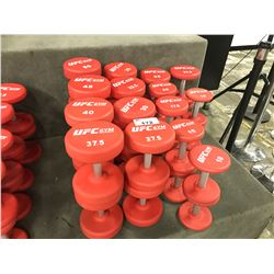 LARGE QUANTITY OF ASSORTED UFC GYM DUMBBELLS