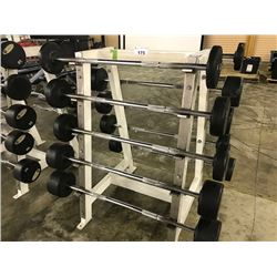 ASSORTED BARBELLS WITH RACK