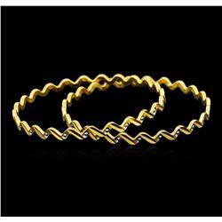 22KT Two-Tone Gold Fancy Bangle Bracelets