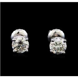 1.14 ctw Diamond Stud Earrings - 14KT White Gold