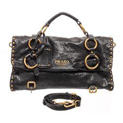 Prada Black Leather Studded Medium Satchel Bag
