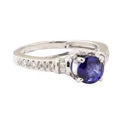 1.15 ctw Blue Sapphire and Diamond Ring - 14KT White Gold