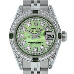 Rolex Ladies Stainless Steel Quickset Green MOP Diamond Lugs Datejust Wristwatch