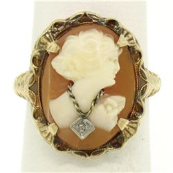 Antique Art Deco 10k Yellow Gold Filigree Shell Cameo Ring w/ Rose Cut Diamond