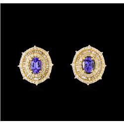 14KT Yellow Gold 1.88 ctw Tanzanite and Diamond Stud Earrings