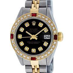 Rolex Ladies 2 Tone Yellow Gold Black Diamond & Ruby Datejust Wristwatch