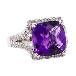8.67 ctw Amethyst and Diamond Ring - 14KT White Gold