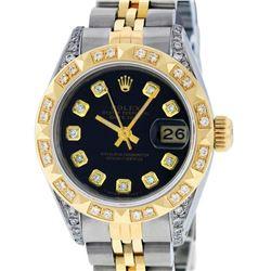 Rolex Ladies 2 Tone Yellow Gold Black Diamond & Pyramid Diamond Datejust Wriswat