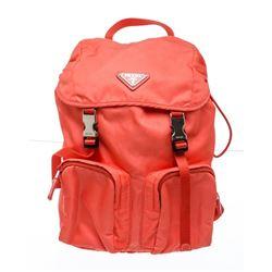 Prada Coral Nylon Buckle Backpack