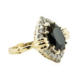 5.75 ctw Oval Brilliant Onyx And Diamond Ring - 14KT Yellow And White Gold