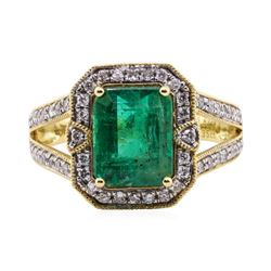 2.82 ctw Emerald and Diamond Ring - 18KT Yellow Gold